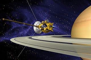 Sonda Cassini orbitando Saturno