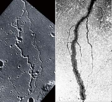 Imágenes semejantes de un surco en la Luna y un surco eléctrico en laboratorio