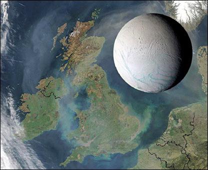 Comparación tamaño Encelado