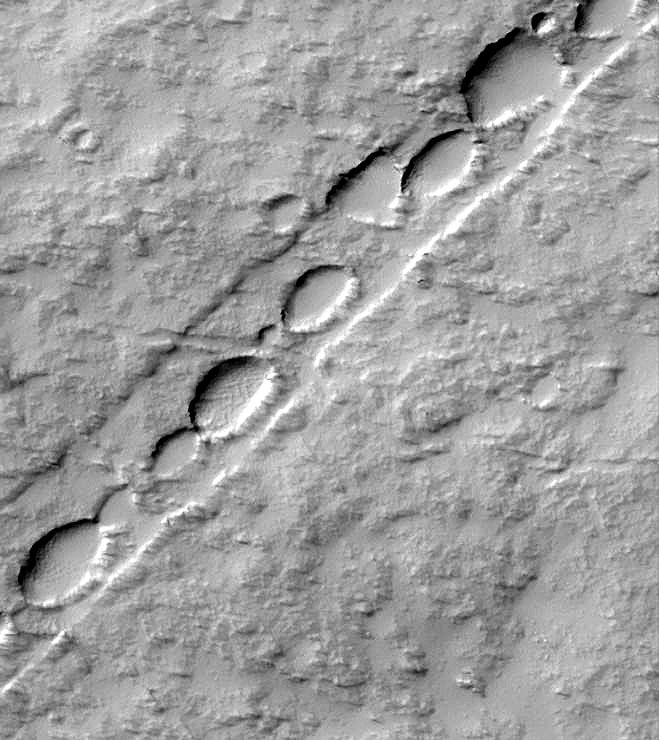 Cráteres encadenados en Marte