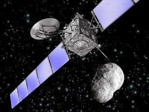 Imagen artística de la nave Rosetta orbitando en torno al comenta 67P