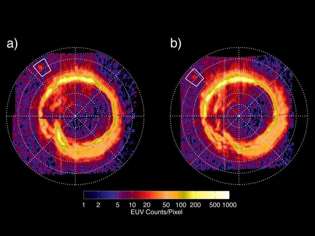 Huella auroral del polo norte de Saturno