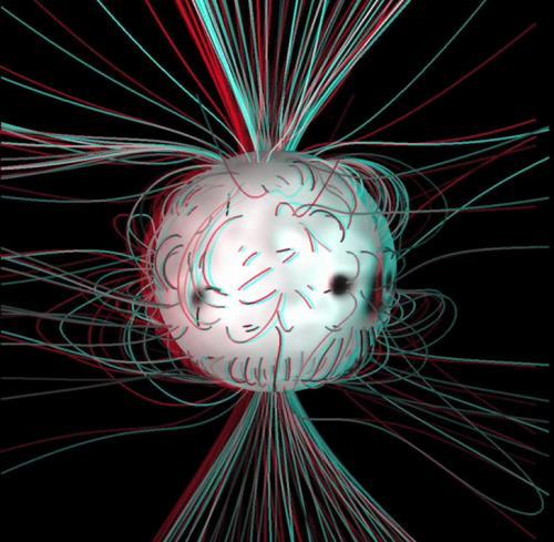 Simulación en 3D de las líneas de campo magnético del Sol