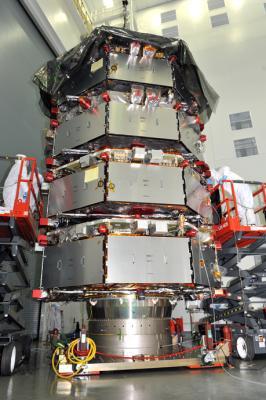 Las 4 sondas de la misión MMS apiladas