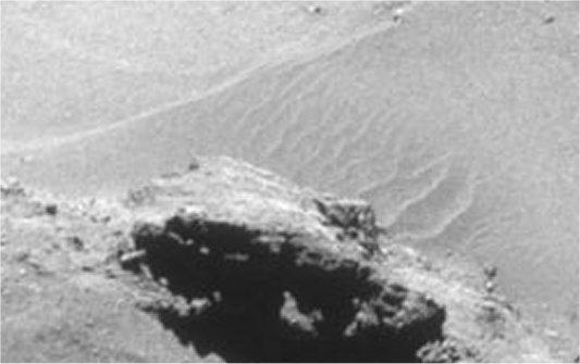 Detalle de las dunas en el cometa 67P