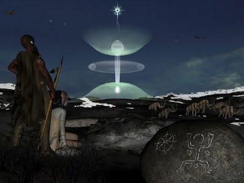 Representación artística de la descarga de plasma en los cielos de la antigüedad