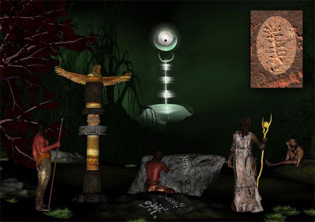 Representación artística de un evento eléctrico cósmico en la antigüedad, presenciado por indios americanos